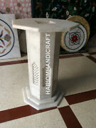 28h 15 Dia White Marble Grill Table Top Stand Base Furniture Decor E545b1