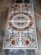 Home Decor Special Marble Dinette Table Inlaid Top Mosaic Semi Precious Work Art