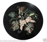 18 Black Marble Top End Table Top Grapes Unique Handmade Arts Marquetry Decor