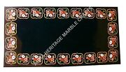 4and039x2and039 Black Marble Countertops Table Stunning Inlay Design Christmas Decor E484
