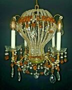 Hollywood Regency Period Maison Bagues Paris Hot Air Balloon Chandelier - Beaded