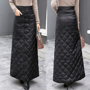 Womens Quilted Winter Warm Puffer Puffa Thicken Cotton Padded A Line Slim Skirts