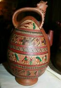 Vintage Hand Painted Pottery Decorated Pot / Pitcher 12-3/4 Tall Brown
