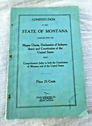 Vintage Book State Of Montana Constitution Magna Charta Helena Mt 1920and039s