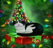 Diamond Painting Christmas Tree Cat Hat Design Embroidery Full Square Decoration