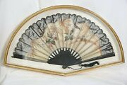 Oriental Hand Fan Lace Grasshoppers Framed In Glass Front Shadowbox 31x18