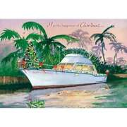 Glad Tidings Yacht Boat Boxed Christmas Greeting Cards Tree Tropical 18 Ct New