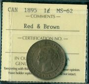 1895 Canada Large Cent Queen Victoria Iccs Certified Ms-62 Red And Brown