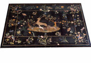 48 X 32 Black Marble Dining Center Table Top Pietra Dura Inlay Work Home Decor