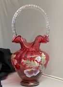 Fenton Art Glass Hand Painted Legacy Collection Cranberry Basket Bill Fenton