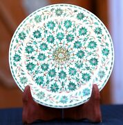 White Marble Round Serving Plate Malachite Inlay Arts And Free Candle Holder Decor