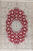 Floral Nain Oriental Area Rug Wool Hand-knotted Medallion 6x9 Home Decor Carpet