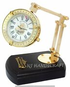 Marine Vintage Antique Shiny Brass Desk Clock Moveable On Wood Stand Collectible
