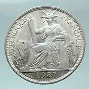 1937 French Indo-china Genuine Antique Silver 20cent Coin France Republic I81590