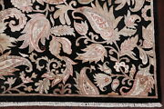 Wool And Silk All-over Floral Black/beige Agra Assorted Oriental Area Rug 9x12