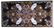 48 X 24 Dining Marble Table Top Semi Precious Stones Inlay Work Home Decor