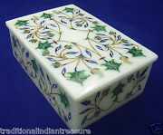 6x4x2 Marble Jewelry Box Malachite Marquetry Inlay Decor Collectible Gifts
