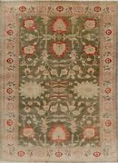 9x12 Vegetable Dye Moos Green Antique Look Oushak Hand-knotted Oriental Area Rug