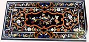 52 X 32 Black Marble Dining Center Table Top Pietra Dura Inlay Work
