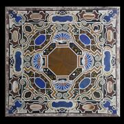 42 Pietra Dura Inlaid Work Home Decor Black Marble Table Top
