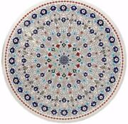 48 Round Marble Sofa Table Top Inlay Art Pietra Dura Work Home Room Furniture