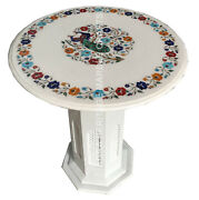 24 Marble Coffee Stand Table Top Multi Floral Peacock Inlay Design Decor E1507