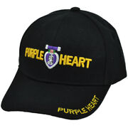 Purple Heart Medal Award Armed Forces United States Military Hat Black Cap