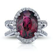 Red Wine Oval Garnet And Diamond Halo White Gold Ring