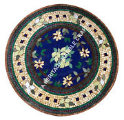 36 Marble Dining Side Table Top Mosaic Inlay Floral Design Christmas Gift E1527