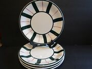 Furiolarge Green Stripesthin Red Stripes4 Dinner Platesmade In Italy10.5