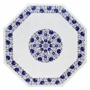 42 Marble Table Top Marquetry Lapis Lazuli Floral Inlay Work Handmade Decor