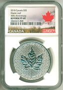 2018 Canada S5 Modified Maple Leaf 30th Anniversary Ngc Reverse Proof Pf69