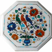 12 Floral Inlay Art Semi Precious Stone Work White Marble Table Tops