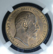Great Britain 1d Penny 1902 Ms66 Rb Ngc Bronze Km794.2 High Sea Level Finest