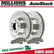 Front Drilled Slotted Brake Rotors Performance Ceramic Pads Kit For Chevy Impala