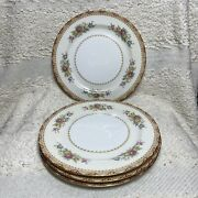 """Set Of 4 Sango 1940s Dinner Plates Gold Trim And Florals 10""""made In Occupied Japan"""