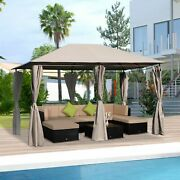 13' X 10' Steel Outdoor Patio Gazebo Pavilion Canopy Tent With Curtains - Khaki