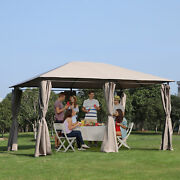 13and039 X 10and039 Steel Outdoor Patio Gazebo Pavilion Canopy Tent With Curtains - Khaki