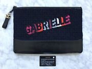 New Gabrielle Quilted Tweed Leather O Case Portfolio Clutch 100authentic
