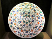 Marble Dining Home Table Real Top Marquetry Inlaid Collectible Multi Decor H4034