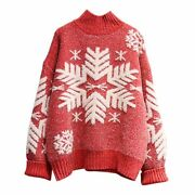 Womens Sweaters Pullover Snowflake Warm Pull Jumpers Cashmere Christmas Acrylic