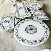 Combo Of 5 White Marble Table Tops Lapis Marquetry Floral Inlay Home Decor E942