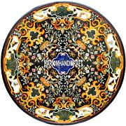 Dinette Black Table Intricate Marble Top Real Inlay Collectible Decorative H3861