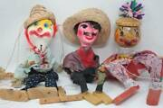 Vintage Antique Hand Made Marionettes Lot 3 Clown Mexican Bandit Wood Doll