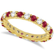2.35ct Stackable Eternity Diamond And Ruby Ring Wedding Band 14k Yellow Gold