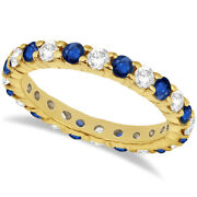 2.35ct Stackable Eternity Diamond And Blue Sapphire Ring Band 14k Yellow Gold
