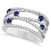 0.90ctw Blue Sapphire And Diamond Bypass Wide Ring 14k White Gold
