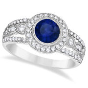 1.50ct Vintage Blue Sapphire And Diamond Accented Milgrain Ring 14k White Gold