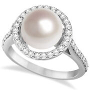 Freshwater Cultured Pearl And Diamond Halo Ring .50ctw 14k W. Gold 9.50-10mm