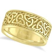 10mm Menand039s Wide Hand Made Celtic Irish Rope Wedding Ring 14k Yellow Gold